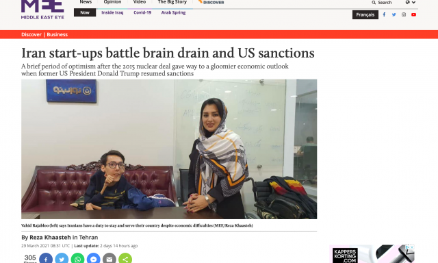 "Reza Ghiabi's Comments on Middle East Eye: ""Iran start-ups battle brain drain and US sanctions"""